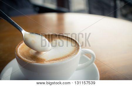 White cup of coffee. Coffee cup. Cup of coffee. Morning coffee. Coffee mug.(vintage effect)