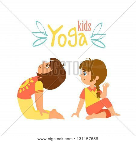Two Girls Doing Yoga Asana Bright Color Cartoon Childish Style Flat Vector Drawing On White Background