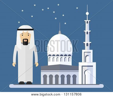 Arab men near a mosque. Objects isolated on a white background. Flat vector illustration.