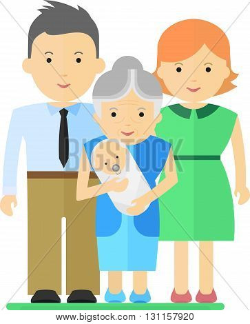 Happy grandmother holding newborn grandchild. Objects isolated on a white background. Flat vector illustration.