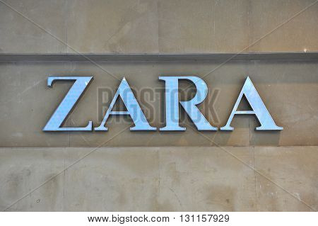 BELGRADE SERBIA - APRIL 30: Logotype of Zara flagship store in Belgrade on April 30 2016. Zara is a Spanish world famous clothing retailer.