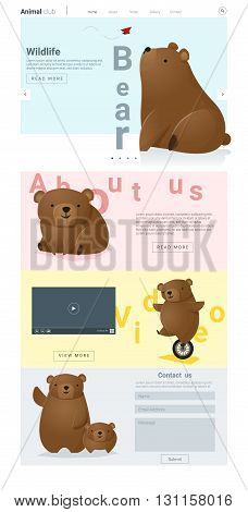 Animal website template with cute Bears, vector, illustration