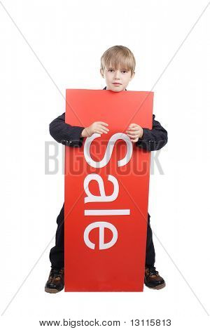 Close-up of boy in business suit. Shot in studio. Isolated with clipping path. Your can change inscription.