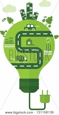 Conceptual image of effective conservation.Wind and solar energy saves the environment. Objects isolated on a white background. Flat vector illustration.