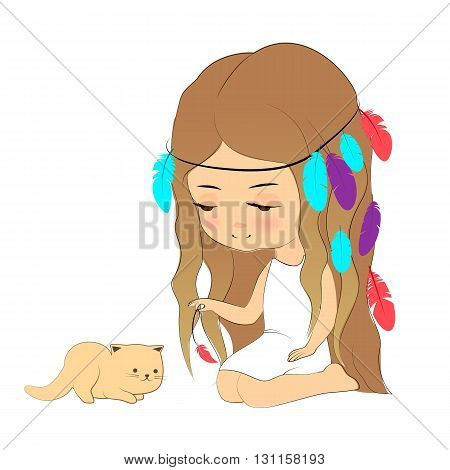 Vector illustration, cute girl and kitten, cartoon hand drawn style. Young girl with feather headdress playing with kitten. Design element for print, poster, cloth.