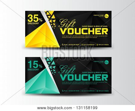 Yellow and green Discount Voucher template coupon design ticket cards design polygon background