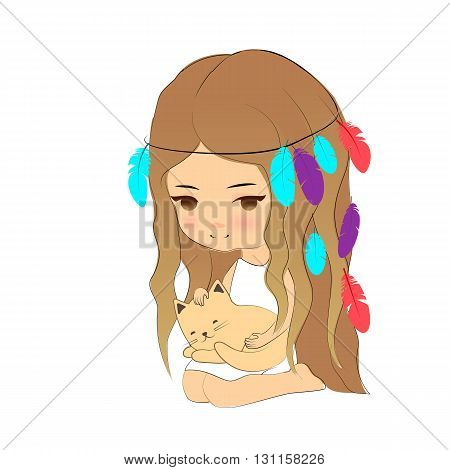 Vector illustration cute girl and kitten cartoon hand drawn style. Young girl with feather headdress with little cat sleeping on her knees.
