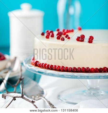 Cranberry, bilberry, raspberry tart, mousse cake, pie, cheesecake with fresh bilberries on a blue wooden background