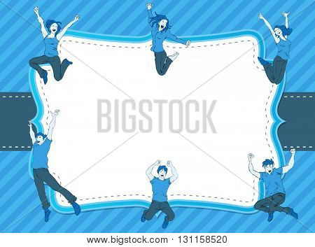 Card with a group of colorful happy people jumping