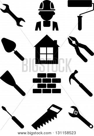A set of tools necessary for the repair and construction. Icons for websites and booklets. Objects isolated on a white background. Flat vector illustration.