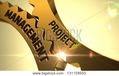 Project Management on Mechanism of Golden Metallic Cogwheels with Glow Effect. Golden Cog Gears with Project Management Concept. Project Management Golden Gears. 3D.