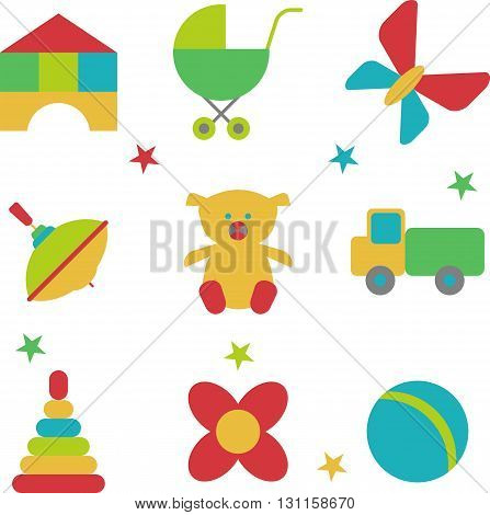 Set of bright beautiful cheerful children's toys. Entertainment for children. Toys for kindergarten or nursery. Objects isolated on a white background. Flat vector illustration.