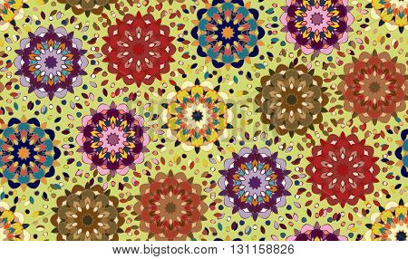 Seamless pattern with abstract mandala ornament in eastern colors on green background. Vector illustration