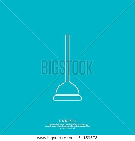 Vector icon of the plunger. Tool for cleaning sewer pipes of the toilet. Plunger with rubber pump. Linear icon. Thin line.