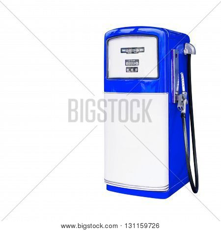 blue retro fuel dispenser isolated on white background with clipping path