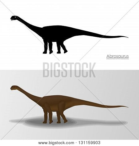 Abrosaurus Dinosaur. Vector Illustration Silhouette and Cartoon CHaracters. File from Dinosaur Collection
