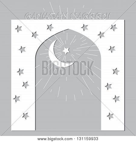 Ramadan Kareem. Eid Mubarak Islamic background mosque door white vector banner design. Vector flat background