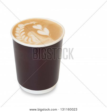 latte art coffee with heart figure and leave on in take away paper glass isolated on white background with clipping path