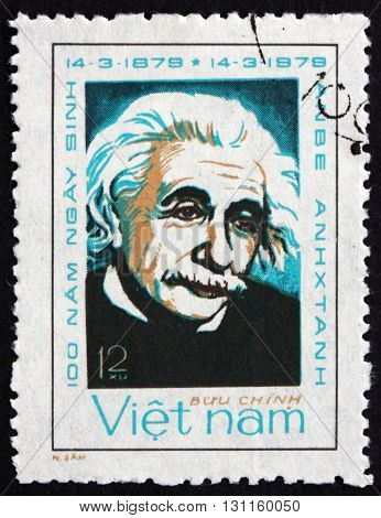 VIETNAM - CIRCA 1979: a stamp printed in Vietnam shows Albert Einstein Physicist circa 1979