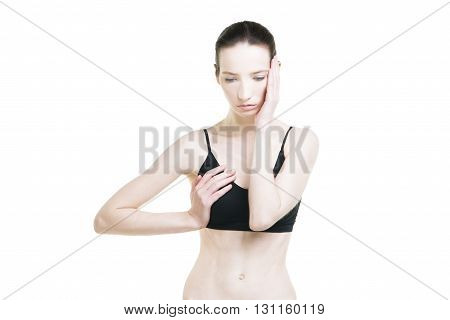 Woman with chest pain. Migraine and toothache. Pain in the human body isolated on white background