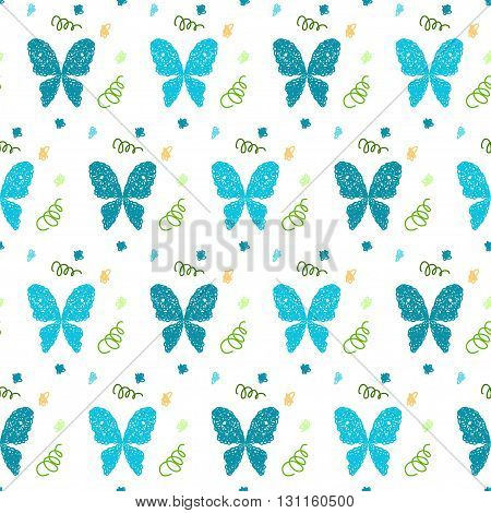 Doodle seamless pattern background. Hand drawn simple butterfly isolated on white cover