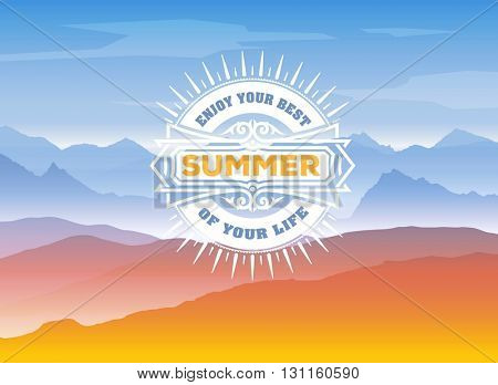 Summer Time Design with Mountains Background.