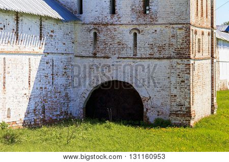 Vologda, Russia - May 29: It is the secret gate to the Spaso-Prilutsky Monastery May 29, 2013 in Vologda, Russia.