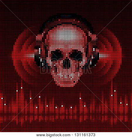 Disco background with skull in headphones equalizer in red shades. LED style display
