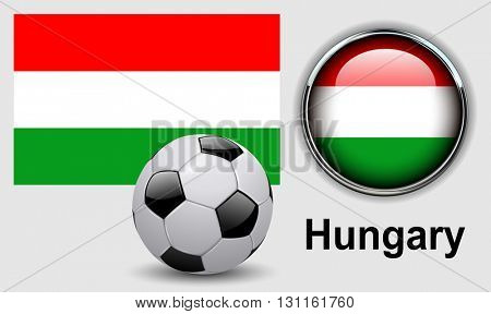 Hungary flag icons with soccer ball, vector design.