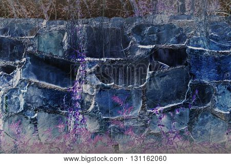 Abstract Fancy Big Rock Wall With Plant Violet Dreamy Background
