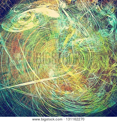 Spherical grunge background or texture with vintage frame design and different color patterns: yellow (beige); green; blue; red (orange); purple (violet)