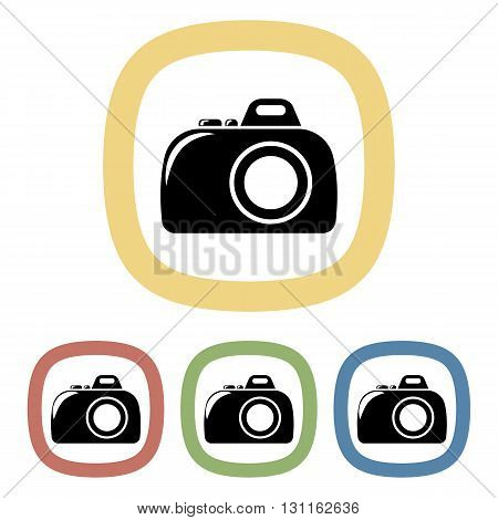 Vector colorful camera icon an a purple background