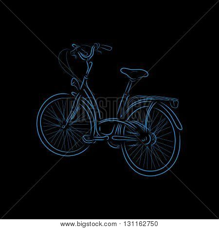 Colored otline of bicycle isolated on black background. Hand-drawn sketch. Art vector illustration for your design.