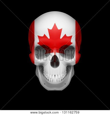 Human skull with flag of Canada. Threat to national security war or dying out