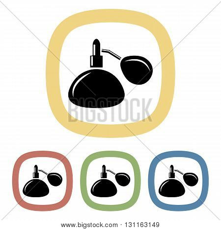 Woman perfume colorful icon. Set of black and white icons