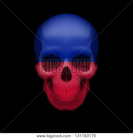 Human skull with flag of Haiti. Threat to national security war or dying out