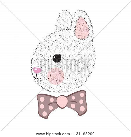 Cute rabbit with bow tie. Vector flat illustration for print