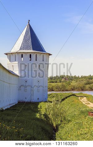 Vologda, Russia - May 29, 2013: This is one of the fortress towers of the Spaso-Prilutsky Monastery May 29, 2013 in Vologda, Russia.