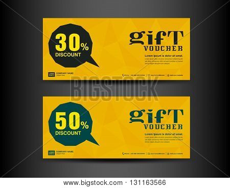 Yellow Discount Voucher template coupon design ticket banner cards polygon background