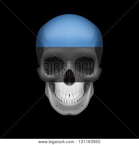 Human skull with flag of Estonia. Threat to national security war or dying out