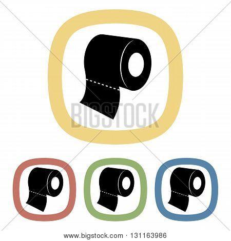 Black icon of toilet paper. Set of black icons