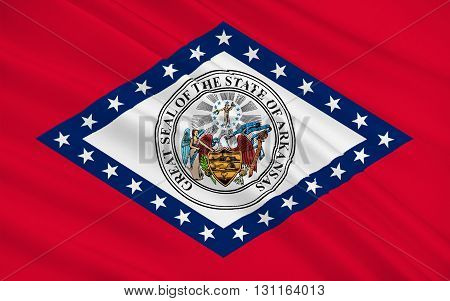 Flag of Arkansas is a state located in the Southeastern region of the United States