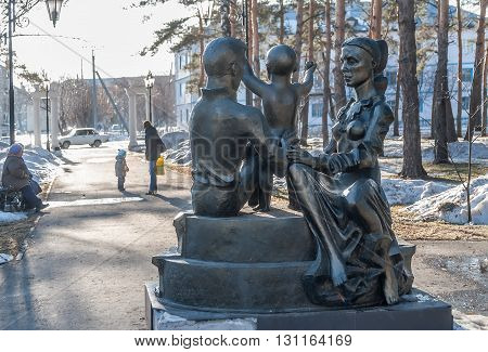 Zavodoukovsk, Russia - April 3, 2010: Monument to Family in Park of Mechanicians