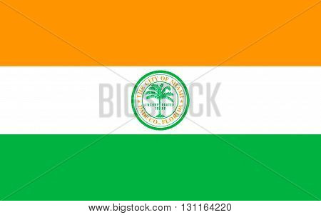 Flag of Miami is a city located on the Atlantic coast in southeastern Florida and the seat of Miami-Dade County