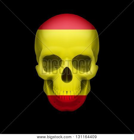 Human skull with flag of Spain. Threat to national security war or dying out