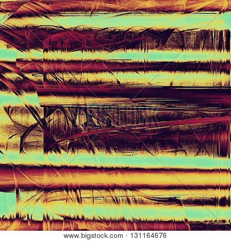 Vintage template or background with grungy texture, antique decor and different color patterns: yellow (beige); brown; red (orange); purple (violet); pink; cyan