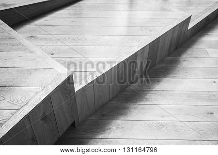 Abstract Empty Interior With Wooden Stairs