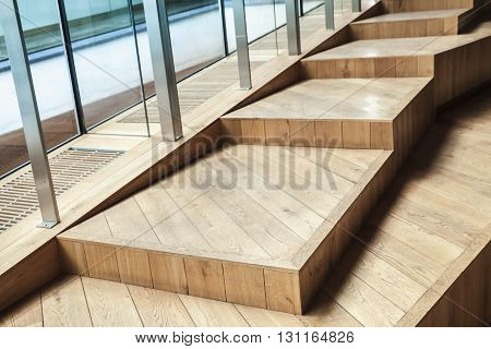 Abstract Empty Interior, Wooden Stairs, Glass