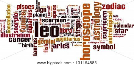 Leo word cloud concept. Vector illustration on white