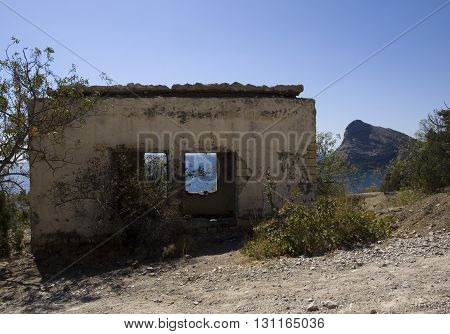 Destroyed building in the mountains in Crimea.